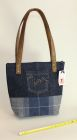 Denim and Tartan structured bag